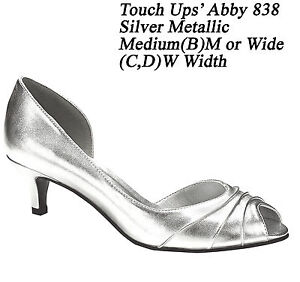 womens bridal prom silver high heels med wide pumps