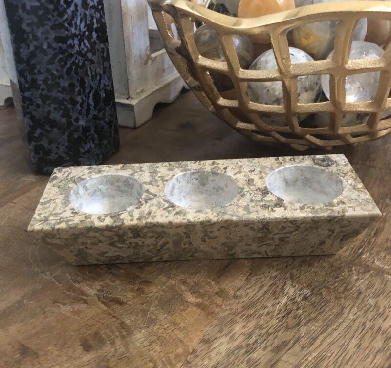 Fossil Stone Tealight holder From Pakistan 1.6lbs