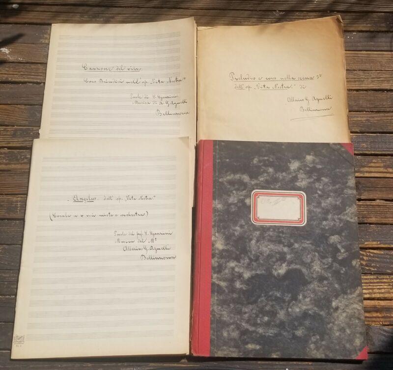 Hand Written Alberico Giuseppe Agnelli Music Composition Archive