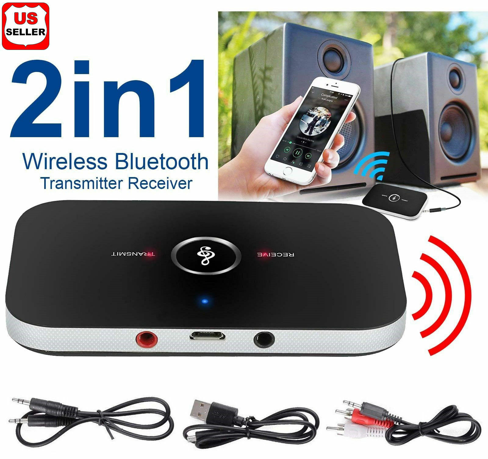 Bluetooth V4 Transmitter & Receiver Wireless A2DP Audio 3.5mm Aux Adapter Hub A6 Computers/Tablets & Networking