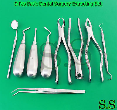 9 Pcs Basic Dental Surgery Extracting Extraction Forceps Elevators Set Ex-346