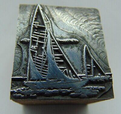 Printing Letterpress Printers Block 2 Sailboats On Water