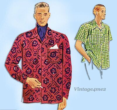 1940s Men's Shirts, Sweaters, Vests McCall's 7906: 1940s Classic Men's Sports Shirt Sz Small Vintage Sewing Pattern $20.00 AT vintagedancer.com