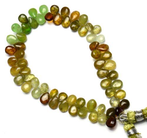 Natural Gem Multi-Color Grossular Green Garnet Smooth Pear Shape Briolette Beads