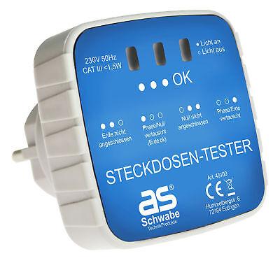as - Schwabe 45100 Steckdosen-Tester, Phase / Null-Leiter / Erde für
