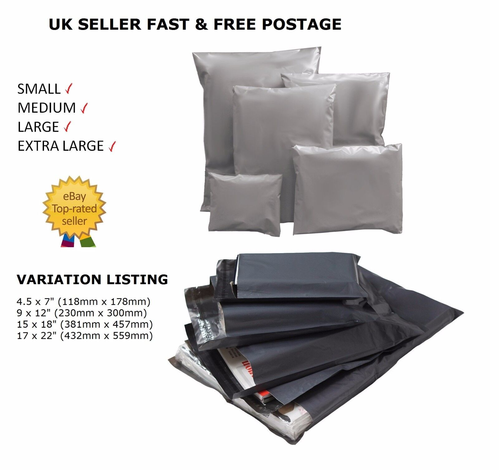 Extra Large Strong Grey Mailing Bags Poly Postal All Sizes Cheapest On  UK
