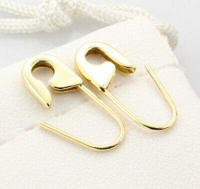 18k Yellow Gold Safety Pin Earrings (PAIR) 3/4
