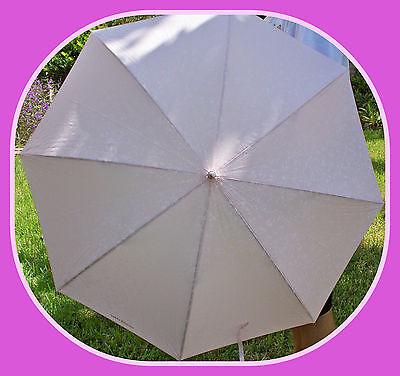 NEW FULL SIZE SUN & RAIN PROTECTION UMBRELLA BUMBERSHOOT White Pink Print