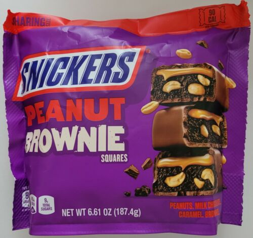 NEW SNICKERS PEANUT BROWNIE SQUARES CHOCOLATE CANDIES 6.61 OZ BAG FREE SHIPPING