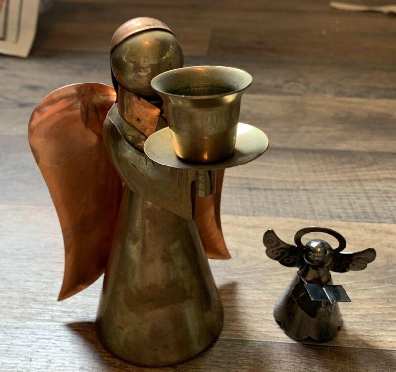 Vintage Brass Metal Angel Figurine 2 Figurines
