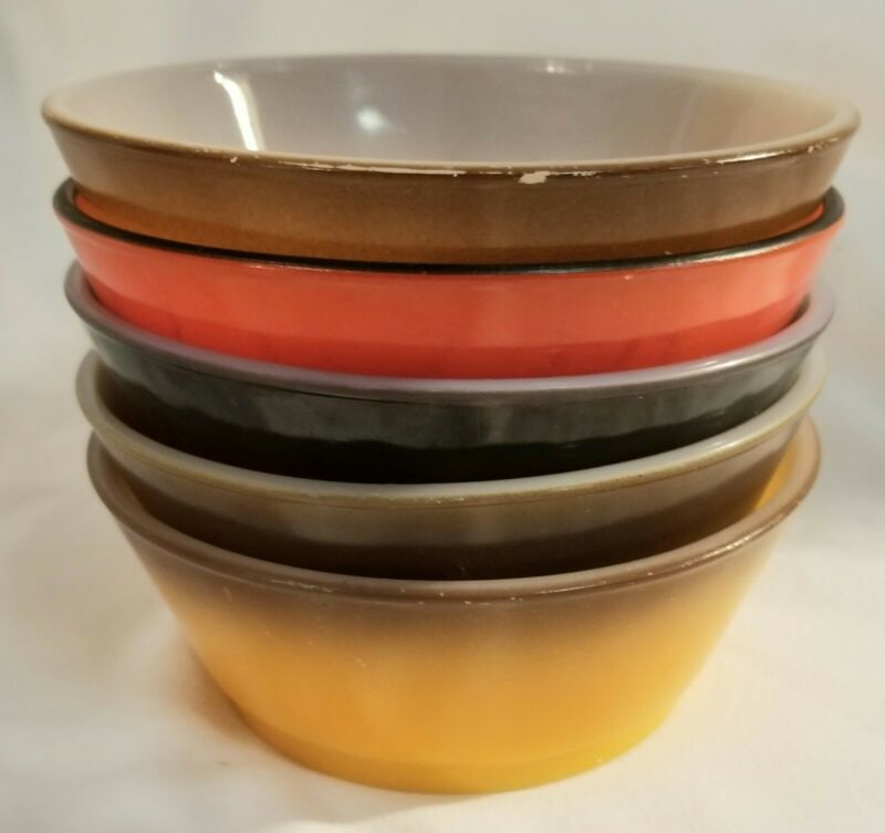5 VTG RETRO ANCHOR HOCKING FIRE KING CEREAL CHILI OMBRE GRADIENT BOWLS USA