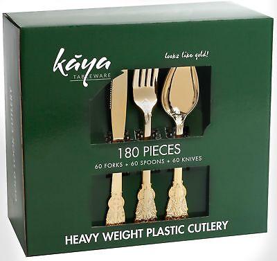 Kaya Collection - Plastic Silverware Set - Gold Cutlery - Disposable Flatware
