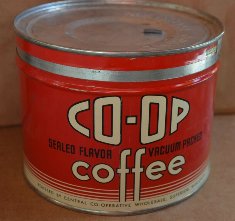 Vintage Co-Op 1 lb coffee tin Superior Wisconsin Super Clean!