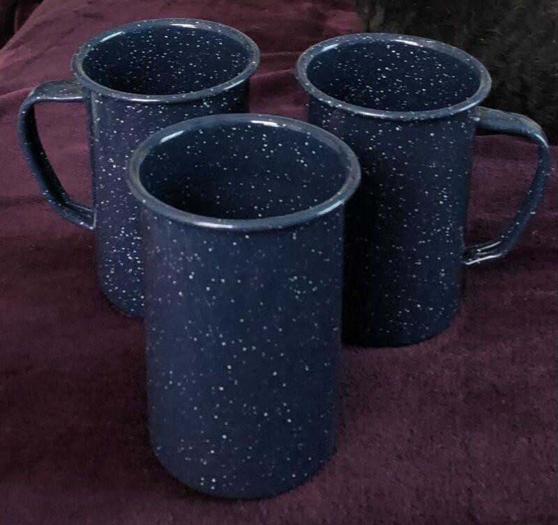 3 Collectible Dark Cobalt Blue & White Graniteware / Enamelware / Tin Ware Mugs