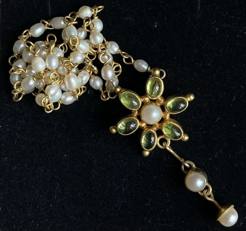 Vintage Gold Washed Silver Pearl Necklace Chain Peridot Flower Pendant