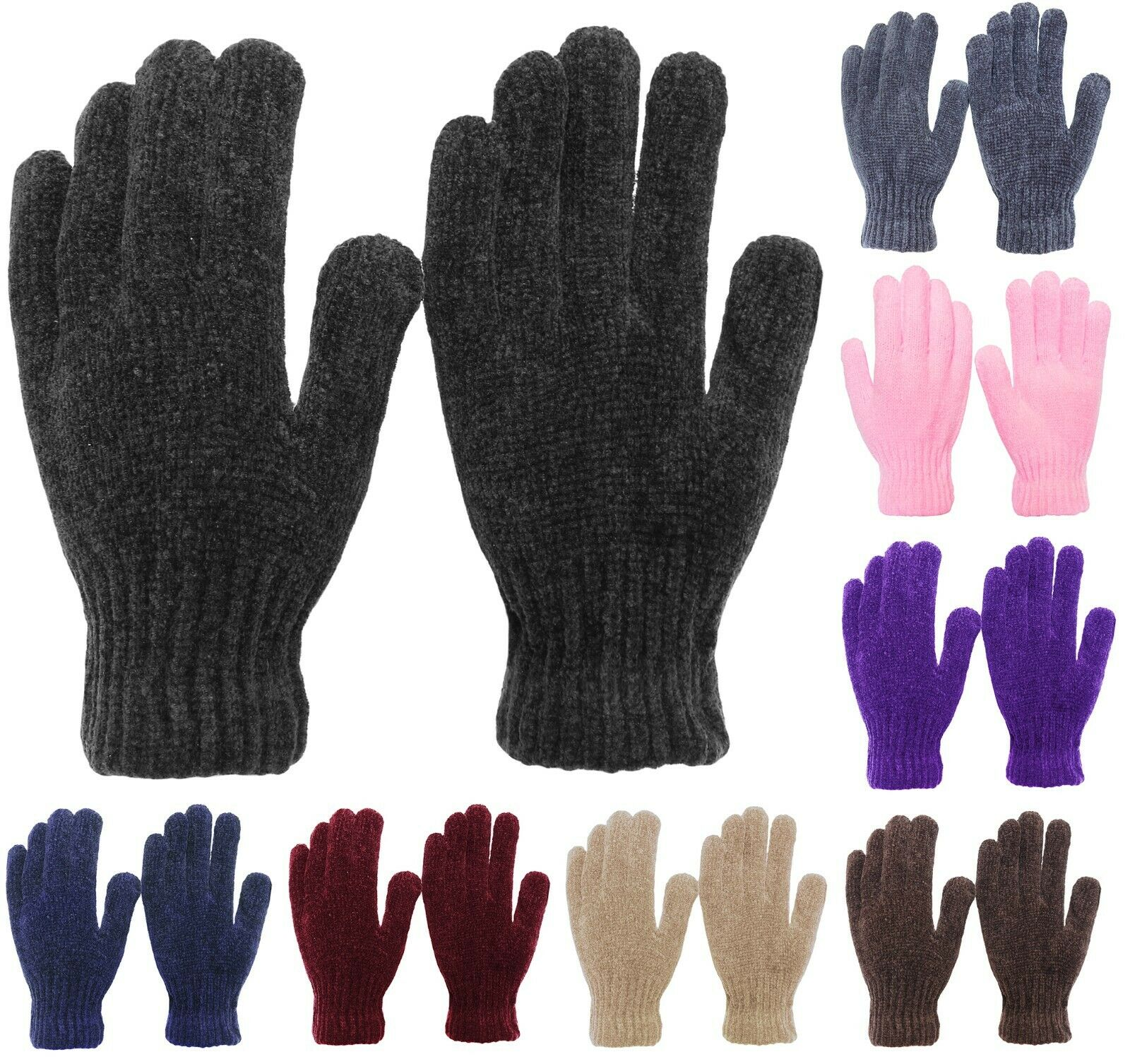 Soft and Stretchy Womens Chenille Winter Magic Gloves Clothing, Shoes & Accessories