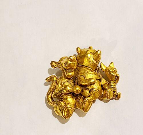 Winnie the Pooh, Tigger & Piglet Gold Tone Brooch Pin Disney Signed