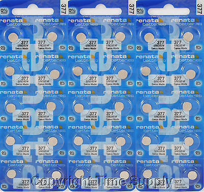 30 pc 377 Renata Watch Batteries SR626SW FREE SHIP 0% MERCURY