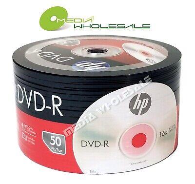 50 HP Blank 16X DVD-R DVDR Logo Branded 4.7GB Media Disc