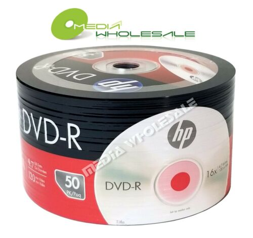 50 HP Blank 16X DVD-R DVDR Logo Branded 4.7GB Media Disc