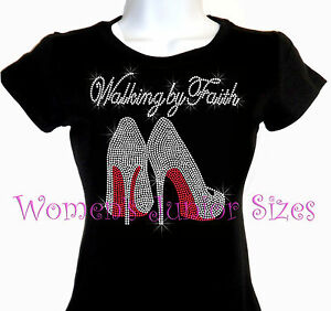 walking by faith high heel shoe rhinestone iron on t shirt