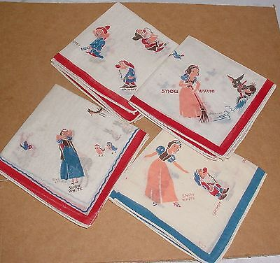 4 Vintage 1938 Walt Disney Snow White Seven 7 Dwarfs ORIGINAL HANDKERCHIEF