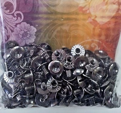 "100 Pack 1/8"" Black OPEN BACK CHICAGO SCREWS 1296-14 Tandy Leather Screw Post"