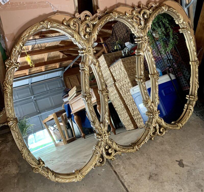 Vtg Gold Hollywood Regency Triptych Triple Interlocking Oval Wall Mirror Bassett