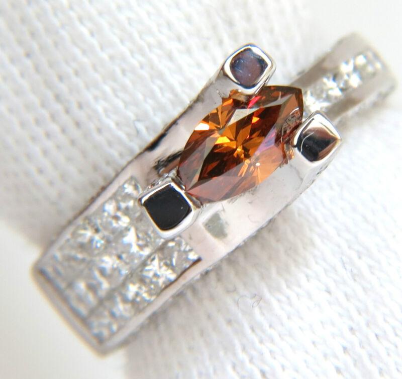 Gia Natural Fancy Orange Brown 2.05ct Diamond Ring 14kt Tension Float $9000