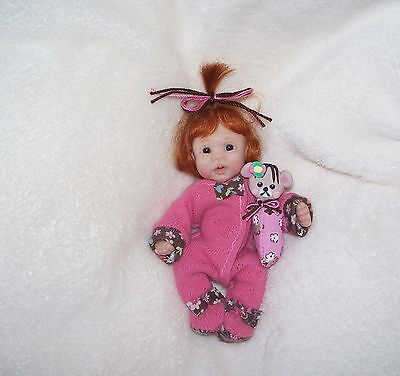 OOAK HAND SCULPTED POLYMER CLAY ORINGINAL MINI BABY GIRL ART DOLL by IHALL