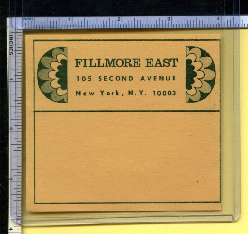 FILLMORE EAST Address Mailing Label -- Authentic Old Vintage Bill Graham Item