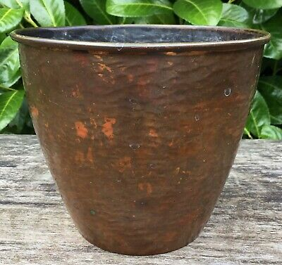 """Old Vintage Retro Rippled Effect Copper Plant Pot Approx 5"""" Tall 5.75"""" Wide"""