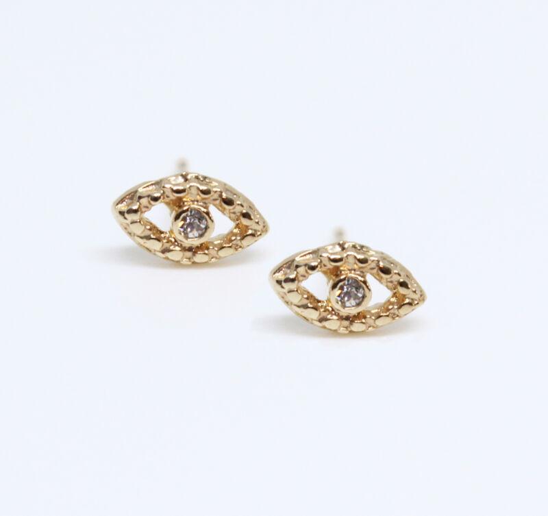 18k Gold Plated Evil Eye Stud Earrings