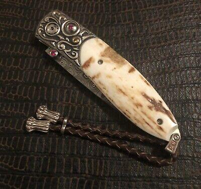 William Henry Knife B05 Monarch: MCKINLEY 18k Gold, Walrus Fossil & Rubies 18/25