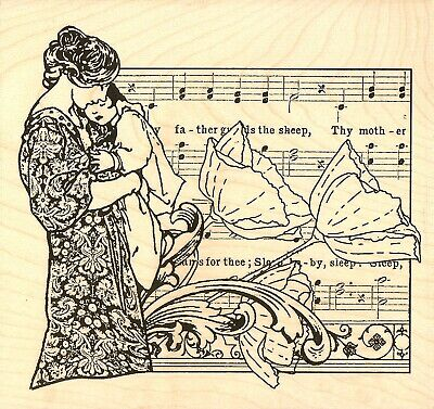 BABY Cradle Song Music Wood Mounted Rubber Stamp Impression Obsession H13754 New for sale  Shipping to India