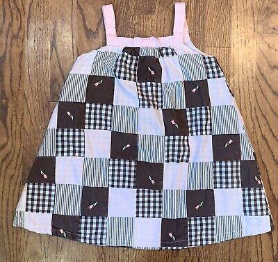 Gymboree Tulip Garden Girls Patchwork Sundress Brown Pink Gingham Stripe Size 5T - Garden Girls