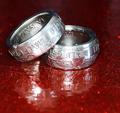 British Coin Ring Crafted from a Vintage Half Crown