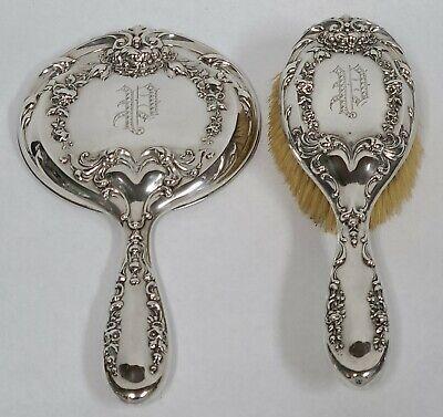 Set International Repousse Sterling Hand Mirror Brush Floral Vintage Silver