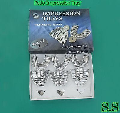 6 Dental Impression Trays Set Perforated Denture Dental Instruments Sml