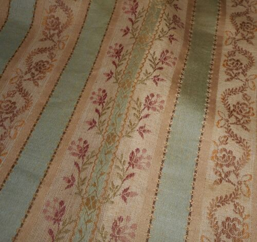 Antique 19th French Green Floral Lisere Brocade Jacquard Cotton Linen Fabric
