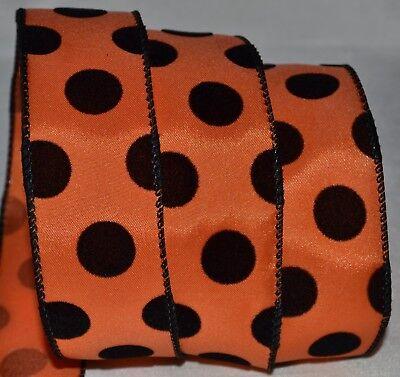 Wired Ribbon~Halloween Orange~Black Velvet Dot~1.5