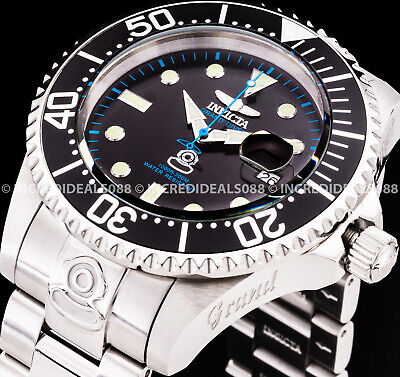 Invicta Men Grand Pro Diver Automatic Black Bezel Blue Mark Dial Silver Watch