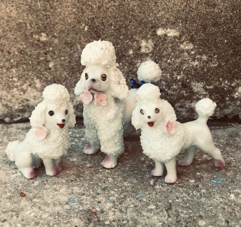 Vintage  Spaghetti French Poodle Mom & Pups Figurine Japan