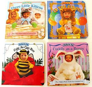 Lot 4 mini board books Picture Me put baby photo inside cutout costumes