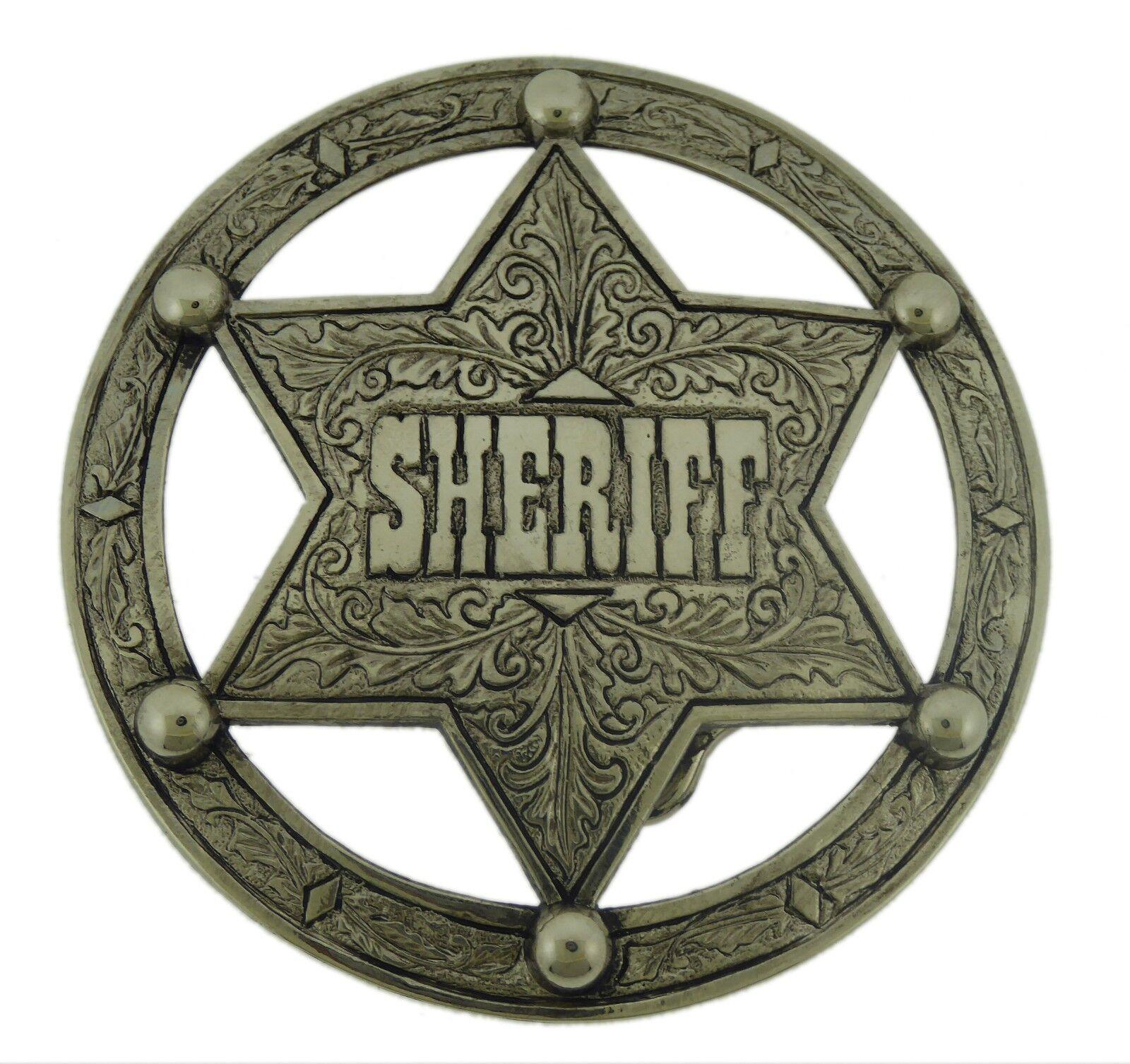 Sheriff Star Vintage Pewter Metal Belt Buckle