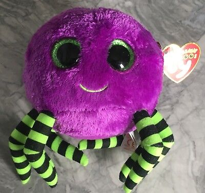 y The Spider With Tags Purple Big Green Eyes Halloween Scary (Halloween Beanie Boos Crawly)