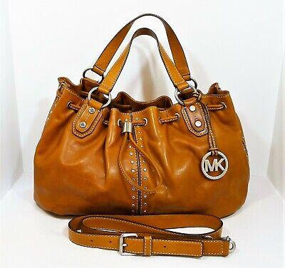 Michael Kors Camel Leather Studded Handbag Shoulder Bag Purse - *WATER STAIN