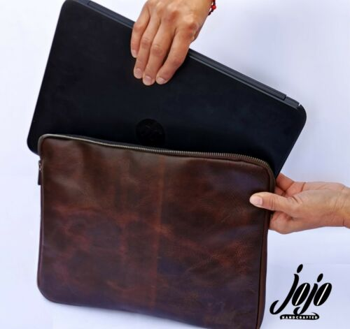 JOJO HANDCRAFTED Leather Laptop Sleeve W/Internal Folder/Document Organize