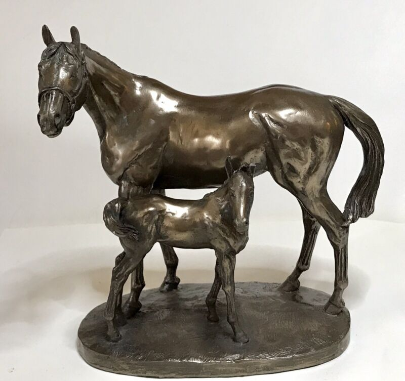 "HORSE & FOAL Figurine Scupture By DAVID GEENTY   6.5"" Mare Colt Cold Cast Bronze"