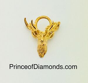 Sterling silver gold plated 24kt gold plated moose pendant charm